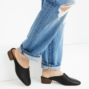 NIB Madewell Black Alicia Leather Square Toe Mules